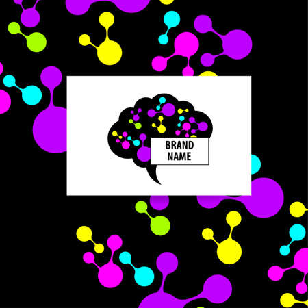 brainstorming: Brain - Template design sign of the brain and neural connections. Brainstorming logotype concept icon. Illustration