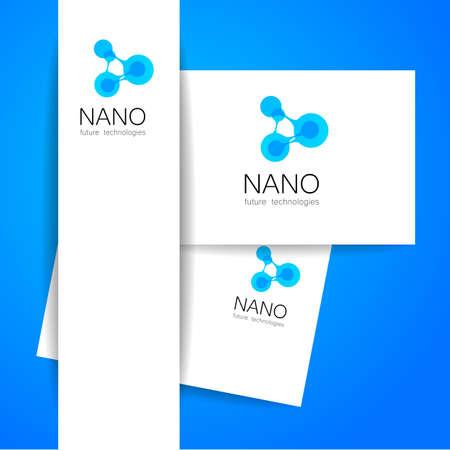 tech logo: Nano - nanotechnology. Template design of . Vector presentation. Illustration