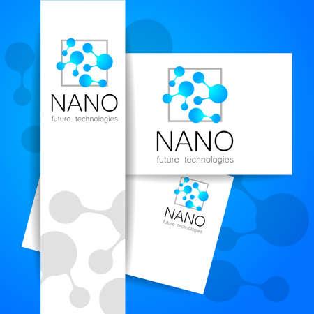 nano: Nano - nanotechnology. Template design of Vector presentation. Illustration
