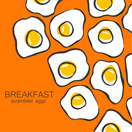 scrambled: Breakfast - fried or scrambled eggs. Template design pattern for a menu or flyer for cafes, restaurants, fast food, food. Illustration