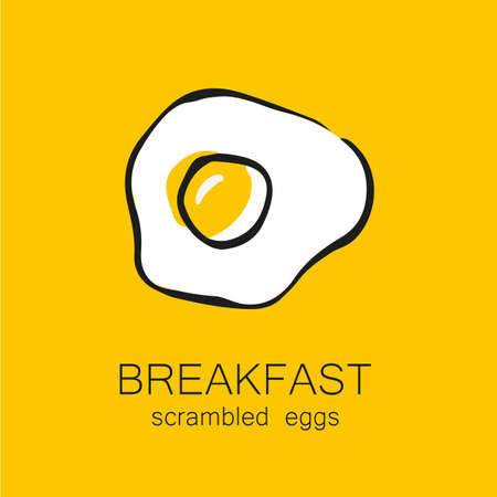fried egg: Breakfast - fried or scrambled eggs. Template design for the , menus, flyers for cafes, restaurants, fast food, food.