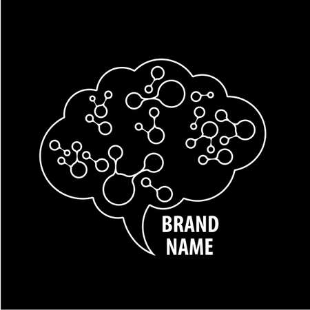 neural: Brain -  Template design sign of the brain and neural connections. Brainstorming logotype concept icon.