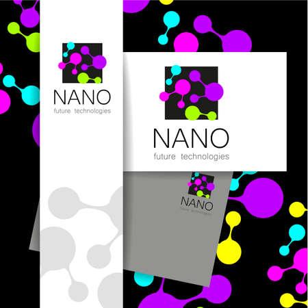 nano: Nano - nanotechnology. Template design. Vector presentation.