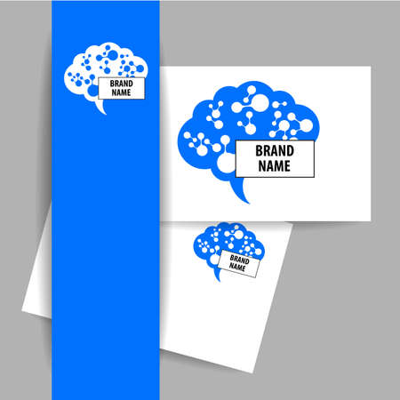 neural: Brain - . Template design sign of the brain and neural connections. Brainstorming logotype concept icon. Illustration