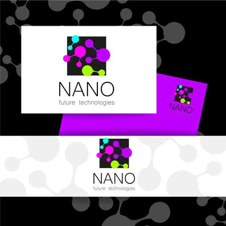 nano: Nano - nanotechnology. Template design of . Vector presentation. Illustration