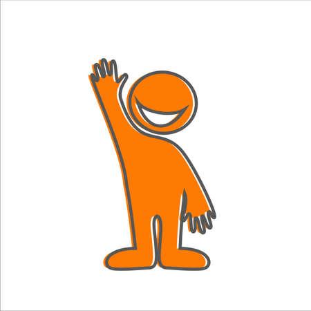 persona feliz: Bienvenido gesto - señal amistosa. Persona sonriente feliz invita.