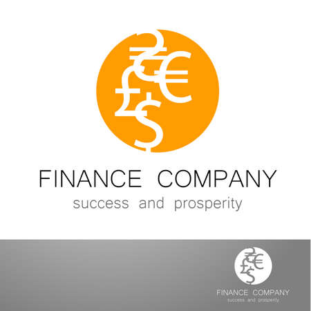 financial symbol: Financial Company - template  Sign of the money - a symbol of the dollar, euro, pound, and others. The presentation of the design of the for the financial companies, banks, currency exchange, community fund and others. Illustration
