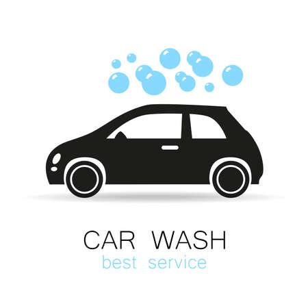 auto lavado: Lavado de coches - signo vector. Diseño de la plantilla para los iconos, pegatinas carwash.