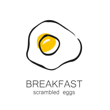 scrambled: Breakfast - fried or scrambled eggs. Template design for the logo, menus, flyers for cafes, restaurants, fast food, food.
