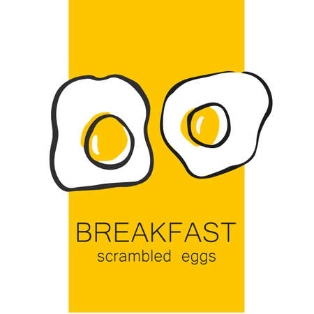 fried food: Breakfast - fried or scrambled eggs. Template design for the logo, menus, flyers for cafes, restaurants, fast food, food.