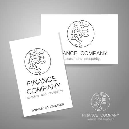 financial symbol: Financial Company - template logo. Sign of the money - a symbol of the dollar, euro, pound, and others. The presentation of the design of the logo for the financial companies, banks, currency exchange, community fund and others. Illustration