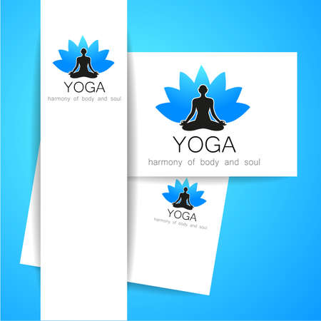 health and wellness: Yoga concept. Vector template logo and corporate identity. Spa, relaxation, meditation, studio, massage and others. Illustration