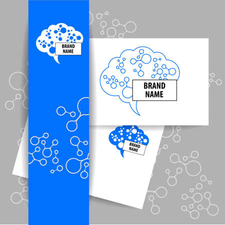 neural: Brain - logo. Template design sign of the brain and neural connections. Brainstorming logotype concept icon.