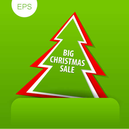 green paper: Christmas discount, Sale banner. Vector template. Illustration