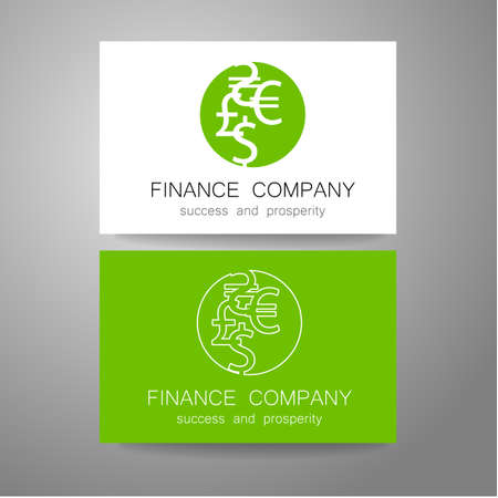 financial symbol: Financial Company - template . Sign of the money - a symbol of the dollar, euro, pound, and others. The presentation of the design of the  for the financial companies, banks, currency exchange, community fund and others.