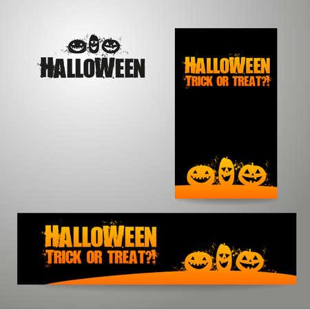 flyer: Halloween banners - vector design templates. Different standard sizes.