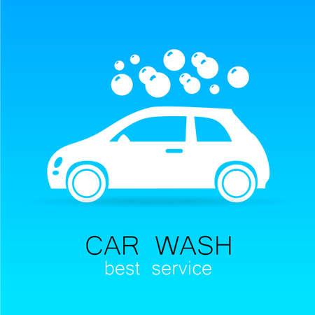 auto lavado: Lavado de coches - signo vector. Diseño de la plantilla para logotipos, iconos, pegatinas carwash.