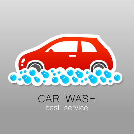 autolavado: Lavado de coches - signo vector. Diseño de la plantilla para logotipos, iconos, pegatinas carwash.