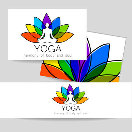 Yoga concept. Vector template logo and corporate identity. Spa, relaxation, meditation, studio, massage and others. Illustration