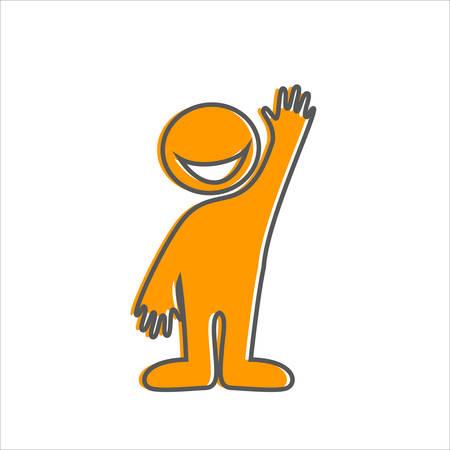 bienvenida: Bienvenido gesto - señal amistosa. Persona sonriente feliz invita.