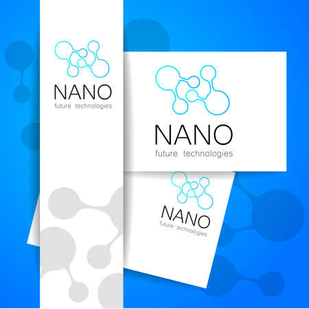nanotechnology: Nano logo - nanotechnology. Template design of logo. Vector presentation.