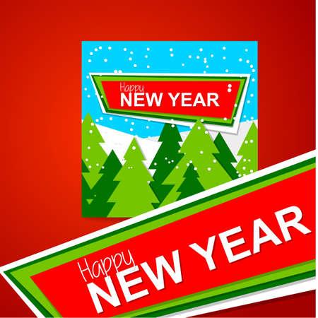 mountain landscape: New Year design. Template vector banner. Illustration