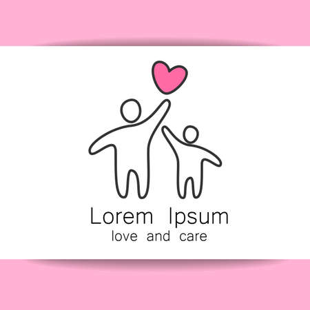 mother in law: Parent. Template design for an icon or . Symbol of protection, care and love for children.