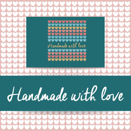 knit: Handmade with Love -  template. Knitted fabric of hearts. The idea for the handmade shops, boutiques, festivals, labels knitted things, and others. Illustration