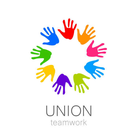 helping: Union - the  design template. The idea for the sign of a team of companies, foundations, and other groups. Illustration