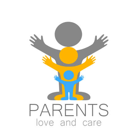 itc: Parents sign. Love and care.  template. Family,  parents and children,  parents and teens an itc. Illustration