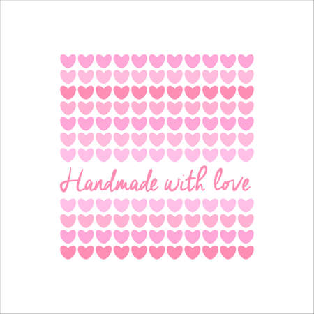 hand made: Handmade with Love -  template. Knitted fabric of hearts. The idea for the handmade shops, boutiques, festivals, labels knitted things, and others. Illustration