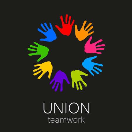 circulo de personas: Unión - la plantilla de diseño. La idea de la señal de un equipo de empresas, fundaciones y otros grupos. Vectores