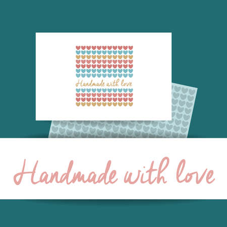 fashion design: Handmade with Love -  template. Knitted fabric of hearts. The idea for the handmade shops, boutiques, festivals, labels knitted things, and others. Illustration