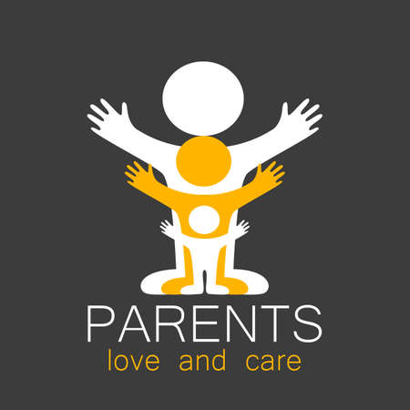 care: Parents sign. Love and care. Illustration