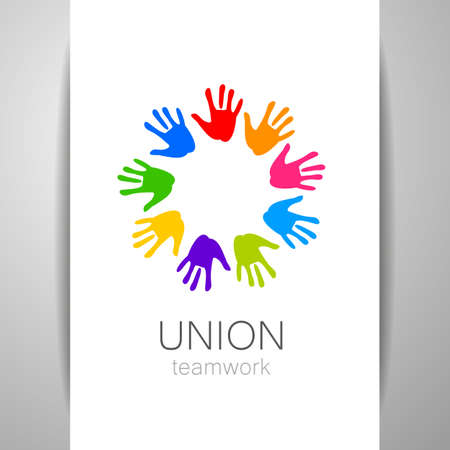 heart hands: Union - the  design template. The idea for the sign of a team of companies, foundations, and other groups. Illustration
