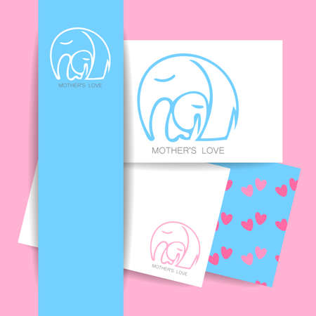 Moms love -  design. Vector illustration. Mother elephant hugging his baby. The idea for the sign for the kindergarten, school, club, baby products and others.