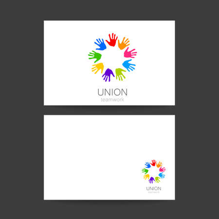 heart in hand: Union - the  design template. The idea for the sign of a team of companies, foundations, and other groups. Illustration