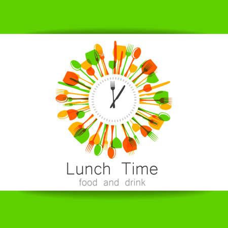étel: Étterem, kávézó, gyorsétterem, élelmiszer-szállítás. Template design arculat. Illusztráció