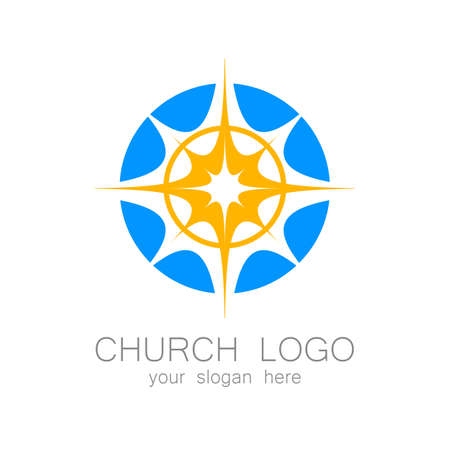jesus praying: Church logo -  design template. Template logo for churches and Christian or organizations. Church name, church icon,  christian logo,  religion logo.