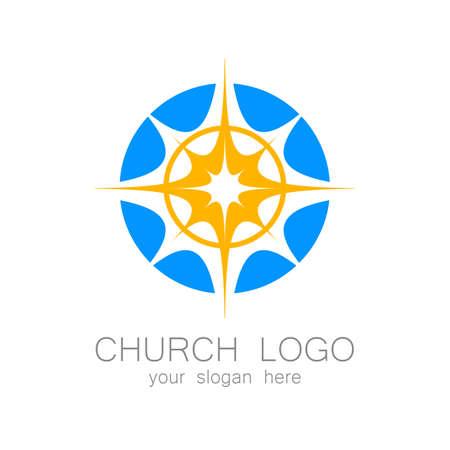 religion catolica: logotipo de la iglesia - plantilla de diseño. logotipo de la plantilla para las iglesias y cristianos u organizaciones. nombre de la iglesia, icono iglesia, logotipo cristiano, religión logotipo.