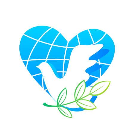 simbolo della pace: Dove logo - modello di progettazione. Colomba bianca - simbolo della pace. Vettoriali