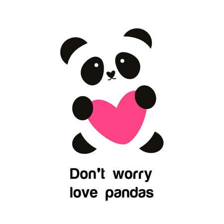 Señal de la panda con el corazón - la idea para el cartel para la protección animal. No se preocupe - pandas del amor. Ilustración de vector