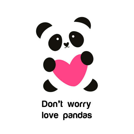 oso blanco: Señal de la panda con el corazón - la idea para el cartel para la protección animal. No se preocupe - pandas del amor.