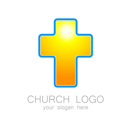 the christian religion: Church logo -  vector design template. Template logo for churches and Christian or organizations. Church name, church icon,  christian logo,  religion logo.