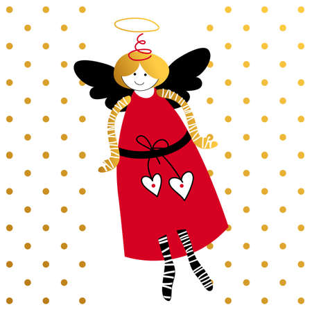 amur: Flying angel. Love Cupid. Greeting Card Template. St. Valentines Day. Cartoon angel. Vector illustration.