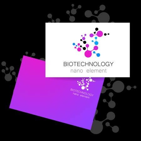 nanotechnology: Nanotechnology development.  Biotechnology.   Abstract molecule vector template. Presentation of corporate identity for the medical industry, science, modern technologies.