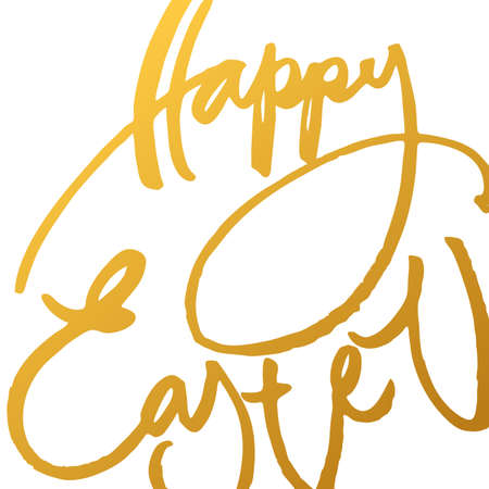 inscription: Happy easter. Easter lettering. Gold inscription on a white background. Easter illustration. Handwriting calligraphy inscription. Illustration