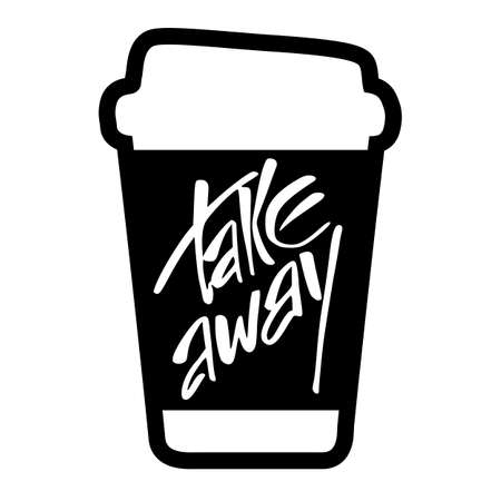 away travel: Takeaway. Take away coffee. Take away coffee cup isolated on white  background.  Vector illustration.