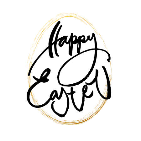 gold egg: Happy Easter card. Easter lettering template. The inscription on background with gold egg. Easter illustration. Handwriting calligraphy inscription. Illustration