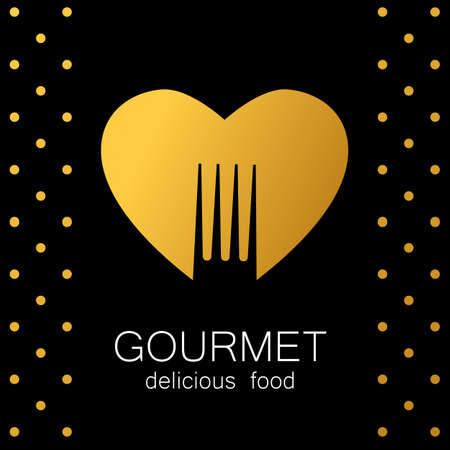 gourmet: Gourmet  . Delicious food. Golden Heart with silhouette of fork on black background. Love Food  . Template  for restaurant, cafe, fast food, store food. Vector  .